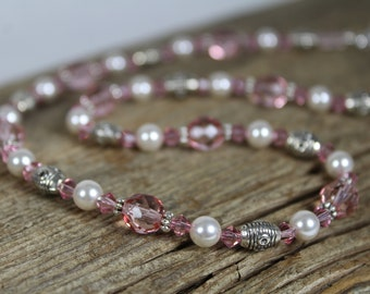 Sparkly Pink and White Pearl Necklace / Swarovski Crystal / Silver