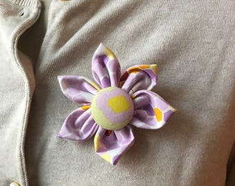 Purple Fabric Brooch, Flower Pin - Handmade Fabric Flower
