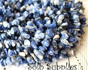 Sodalite Chip Beads Tiny Nugget Size Gemstone Beads Natural Undyed Blue White Grey