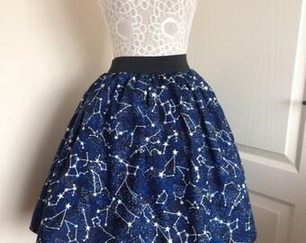 Ladies or girls Glow in the Dark Constellations skater style skirt