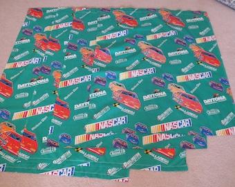 4 Vintage Hand Sewn Nascar Racing Curtain Panels, Boys Room Car Racing Curtains, Nascar Bibb Vintage Race Car, Darlington, Watkins Glen