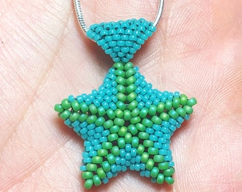 Beaded starfish pendant on sterling chain