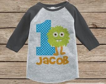 Ersten Geburtstag Monster Outfit - jungen 1. Geburtstag Onepiece oder T-shirt-grünes Monster Raglan Shirt grau - 1. Geburtstag - Geburtstag Raglan T-Shirt