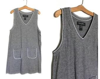 90's Minimalist Dress Vintage Jumper Dress Cotton Jersey Dress 90' Dress 80's Dress Medium Vintage Dress Black and White U