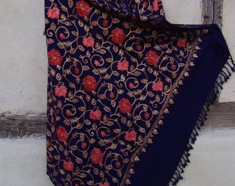 """Dark Navy Blue. Bigger embroidered Pashmina.  Gold Red Flowers Luxurious shawl. Pure wool. 84 x 40"""". Kashmir."""