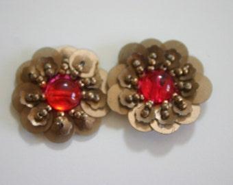 Pinkish Orange Centered Flowers - Applique with Sequin/Bead/Rhinestone (1pair)