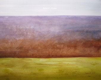 Modern Landscape archival print, abstract landscape painting, scenic watercolor painting modern decor, autumn landscape contemporary art