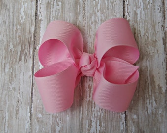 "Pink Hairbow Pink Large Hair Bow 4"" Alligator Clip Girls Hairbow Pink Hair Bow Pink Large Bow 4 Inch Pink Hair Bow"