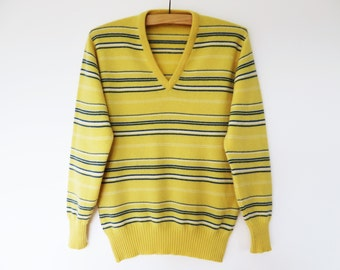 Vintage 80s Men Wool Sweater Yellow New Wool Sweater Warm Men Sweater Striped Winter Sweater Bright Pullover Medium Size Made in Scotland