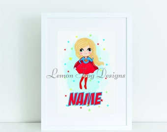Personalised Superhero Supergirl Inspired  A4 Print or Emailed