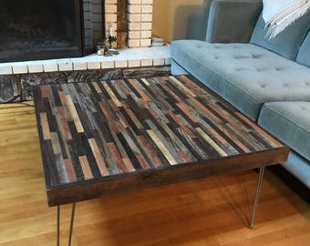 On Sale! Beautiful square coffee made of reclaimed wood.