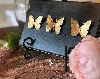 Butterfly Home Decor, Gold Faux Butterfly Insect Taxidermy, Wall Art, Home Decor