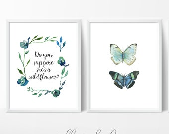 Do you suppose she's a wildflower, Butterfly Duo, Insect Print, Butterfly Print, Wall Art , Easter, Watercolor Print, Nature Prints
