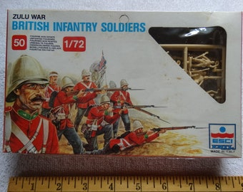 Zulu War British Infantry Soldiers 1/72 scale 50 Soldier Figures ESCI Model Ertl #212 Military Miniatures c.1983 War Games South Africa