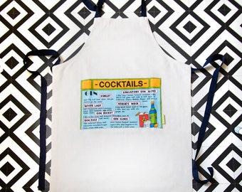SALE White apron, blue pocket, navy ties, cocktails/ gin gifts/ cocktail recipe/ unisex apron/ full apron/ bib apron man/woman ECO gift box