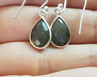 Labradorite Earrings, Silver Labradorite Earrings, Sterling Silver Earrings, Labradorite Drop Earrings, Labradorite Dangle Earrings, Boho