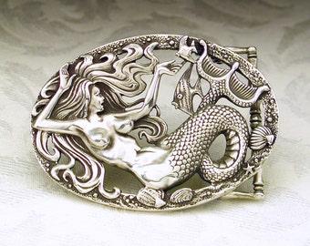 Mermaid Belt Buckle in Solid Sterling Silver 925