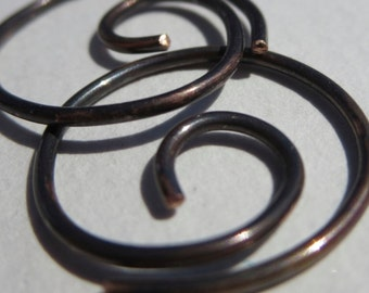 Free Shipping Item. Small Hoop Earrings. MINNIER. Small Swirl Hoop Earrings with smooth surface in 18 gauge solid OXIDIZED COPPER wire