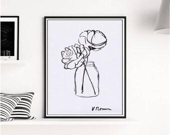 Charcoal Peony Print, Charcoal Art, Peony Print, Black White Print, Black White Poster, Modern Minimalist, Modern art, Digital Download, Art