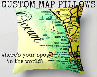 Custom Map Pillow Cover, Anywhere in the World Map Pillow Adventure Decor Camper, Wife to Husband Gift Airbnb Map City Pillow, Travel Decor