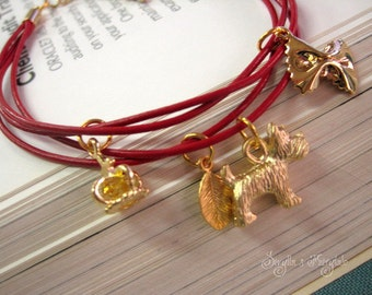 Leather charm bracelet - Red passion