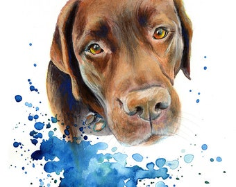 Chocolate Labrador Dog painting print, High quality print, painting was originally made with watercolour and pastels