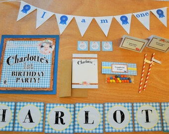 Charlotte's Web Printable Party  - Wilbur, Fern, Charlotte, Farm Animals, Gingham Birthday Party Invitation - Print-at-home PDF File