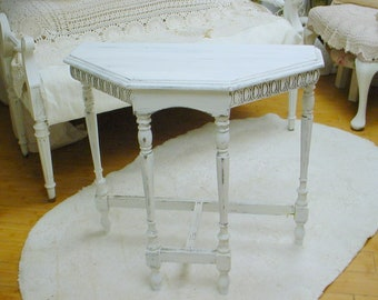 Demilune Table Chalkpaint Vintage White Occasional Table Nightstand Shabby Chic French Prairie Farmhouse