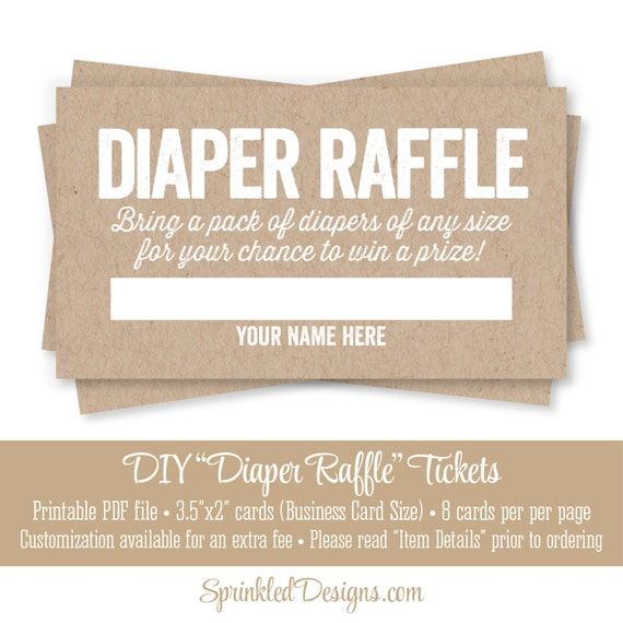Printable Diaper Raffle Tickets Rustic Brown Kraft Paper Fun