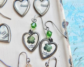 Lucky clover earrings - four leaf clover - lucky earrings - green crystal - St. Patrick's Day jewelry - graduation gift