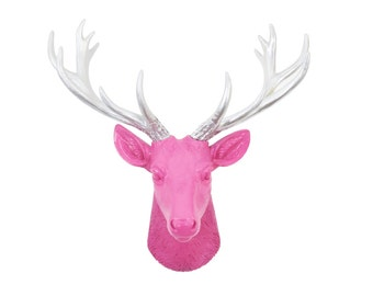 Mini Deer Head Wall Mount - Hot Pink With Silver Antlers - Home Decor Wall Mount SD1610