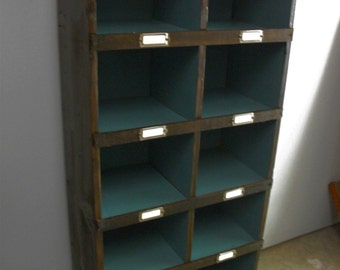 Handmade Distressed Postal Cabinet Bookcase