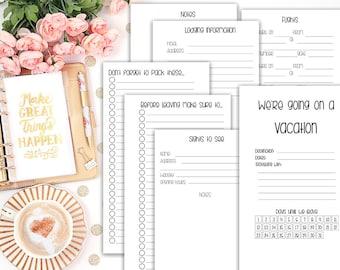 vacation kit - printable planner insert - Filofax personal - Kikki K Medium - print at home - vacation planning