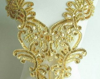 BD10 Floral Fringed Bodice Sequined Beaded Applique Motif Gold Sewing on Dancewear