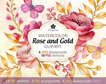 Rose Gold Flowers WATERCOLOR Clip Art design. 19 PNG floral elements, 4 backgrounds 12x12 digital scrapbook paper textures. Read about usage
