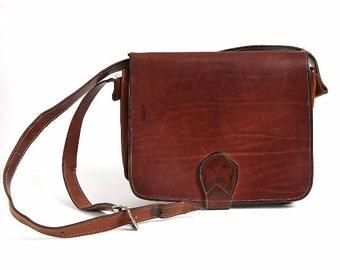 80s Vintage Leather Handbag, Brown Leather Handmade Woman Purse, Retro Genuine Leather Woman Shoulder Bag, leather shoulder messenger bag