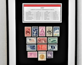 1957 Complete US Postage Commemorative Year Set - Birth Year Gift - Postage Art