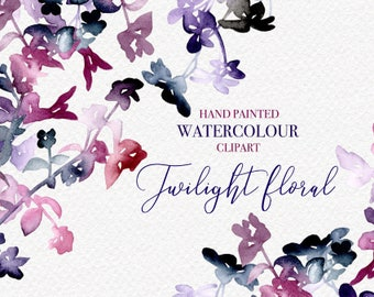 Twilight Floral Hand Painted Watercolour Collection Clipart - PNG, Personal and Commercial Use, Perfect for DIY Wedding Invitations