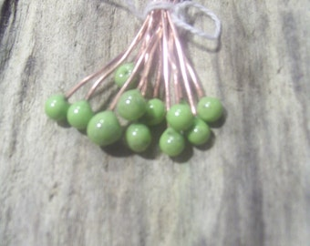 Enameled Copper Headpins Avocado Pistachio Made to Order