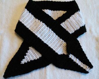 Handmade crochet skunk scarf