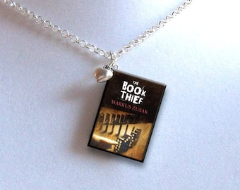 The Book Thief with Tiny Heart Charm - Miniature Book Necklace