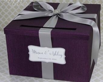 Wedding Card Box Purple Plum Lavender Money Holder Customize your Card Holder