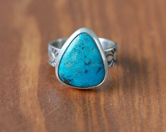 Blue Kingman Turquoise Ring, Sterling Silver Ring - Size US 7.5