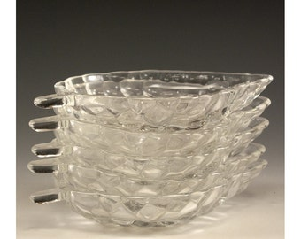 Vintage Set of Five Clear Glass Leaf Bowls