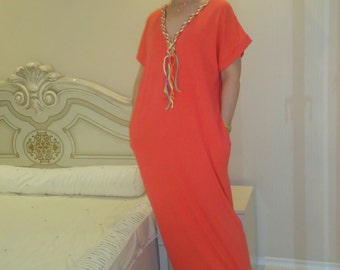 NEW SPRING Collection V-neck   Kaftan Dress Hand Knitted decorations/Plus size Party dress kaftan/ Long dress Caftan Top All sizes Us Uk Eu