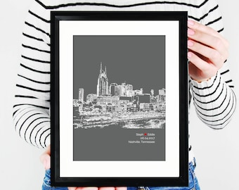 Nashville Skyline, Nashville Tennessee Engagement Gift, Personalized Tennessee City Wedding, First Anniversary, Bridal Shower - 8x10 Art