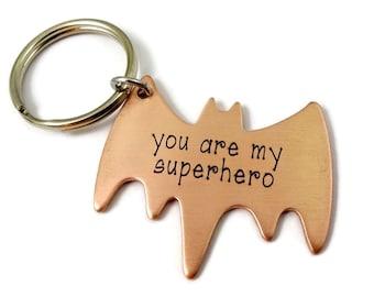 Superhero Key Chain - Engraved Copper Batman Key Ring - Fathers Day - Boyfriend Husband Partner - Valentine's Day