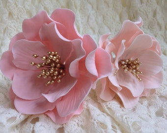 Pink or Blush Open Rose - Gold Stamens