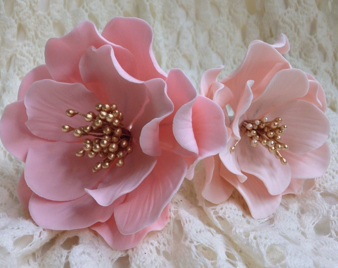 Featured listing image: Pink or Blush Open Rose - Gold Stamens