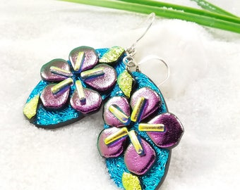 Dichroic glass earrings, Sakura blossom jewelry, fused dichroic earrings, flower jewelry,  purple earrings, dichroic, artisan jewelry, blue